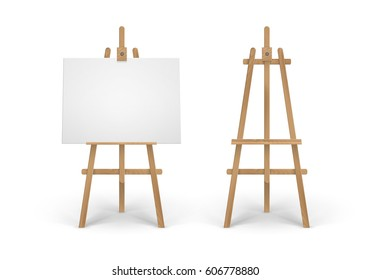 Vector Set of Wooden Brown Sienna Easel with Mock Up Empty Blank Canvas Isolated on Background
