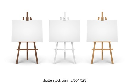 Vector Set of Wooden Brown White Sienna Easels with Mock Up Empty Blank Horizontal Canvases Isolated on Background