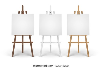 Vector Set of Wooden Brown White Sienna Easels with Mock Up Empty Blank Square Canvases Isolated on Background