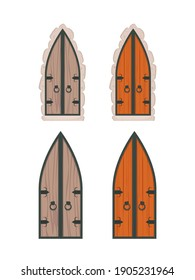 Vector Set of wooden doors in cartoon style. Elements for the design of games or houses.