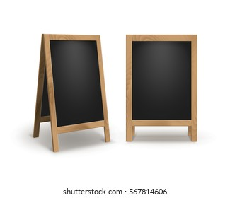 Vector Set of Wooden Empty Blank Advertising Street Sandwich Stands Sidewalk Signs Black Menu Boards Isolated on White Background