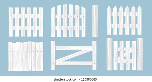 Vector set. Wooden fence of different shapes.