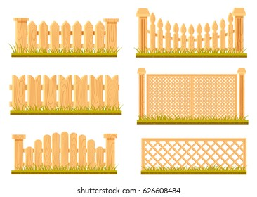 Vector set of wooden fences in cartoon style isolated on white