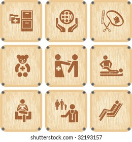 Vector set of wooden Icons