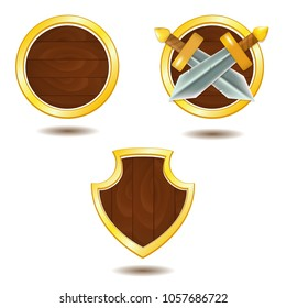 Vector set of wooden shields with swords and golden frame. Perfect for games or other design works
