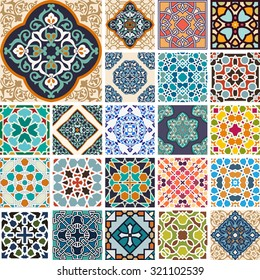 Vector set of works in the Islamic style seamless pattern