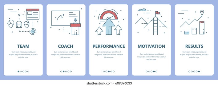Vector set of workshop concept vertical banners. Team, coach, performance, motivation and results concept elements. Thin line flat design symbols, icons for website menu, print.