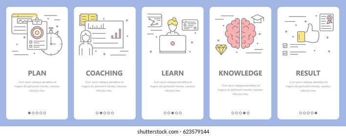 Vector set of workshop concept vertical banners with plan, coaching, learn, knowledge and result concept elements. Thin line flat design symbols, icons for website menu, print.