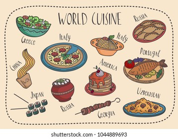 Vector set of world famous food