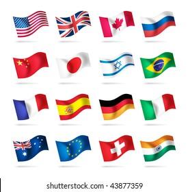 Vector set of world flags: USA, United kingdom, Canada, Russia, Japan, Brazil, Israel, France, Spain, Germany, Italy, Australia, Euro, Switzerland, India