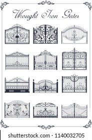 Vector Set of Wrought Iron Gates