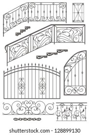 Vector set: wrought iron wicket, stairs railing, fence and window grilles  isolated on white background