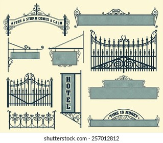 Vector set: wrought iron wicket, fence and gates grilles isolated