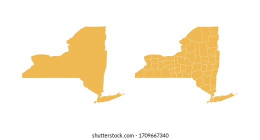 Vector set yellow of map New York