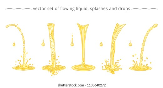 Vector set of yellow and orange trickles, drops, splashes. Collection of pouring liquid elements. Templates for advertising of fruit juice, beer, soda, oil and honey. Linear design. White background.
