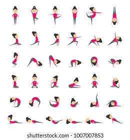 Vector set of yoga poses for health and flexibility. Concept of sport style life. Collection of yoga asanas. Vector illustration in cartoon style on isolated white background