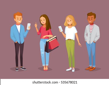 Vector set of young people with gadgets and shopping bags