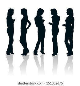 Vector set of young women gesturing silhouettes