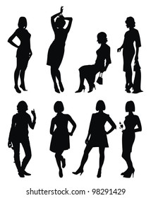 Vector set with young women silhouette - strike different attitudes