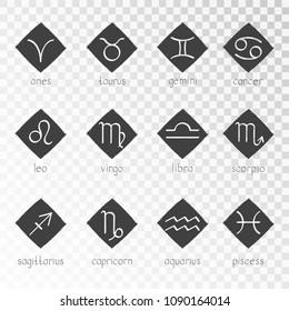 Vector set of zodiac grunge icons on a transparent background. Hand drawn elements. Horoscope symbols collection: aries, taurus, gemini, cancer, leo, virgo, libra, scorpio, sagitarius, capricorn, aqua