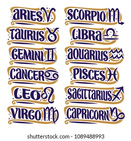 Vector set of Zodiac Signs, collection of 12 astrology symbols with handwritten text for predicting horoscope on white background, original hand written brush typeface for twelve blue words and signs.