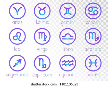 Vector set of zodiac signs round icons on a transparent background. Horoscope symbols collection: aries, taurus, gemini, cancer, leo, virgo, libra, scorpio, sagitarius, capricorn, aquarius, pisces.