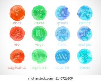 Vector set of zodiac signs with watercolor elements. Hand drawn. Horoscope symbols collection: aries, taurus, gemini, cancer, leo, virgo, libra, scorpio, sagitarius, capricorn, aquarius, pisces.