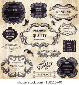 vector set:calligraphic design elements and floral frames for Premium Quality  design. All objects are grouped separately