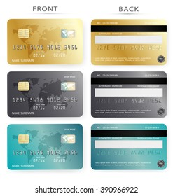 Vector set/Credit card design template in gold black color. To adapt idea for commercial business advertising and financial illustration