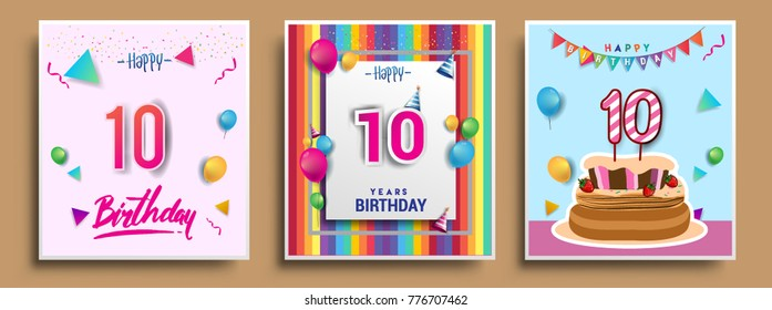 Vector Sets of 10 Years Birthday invitation, greeting card Design, with confetti and balloons, birthday cake, Colorful Vector template Elements for your Birthday Celebration Party.