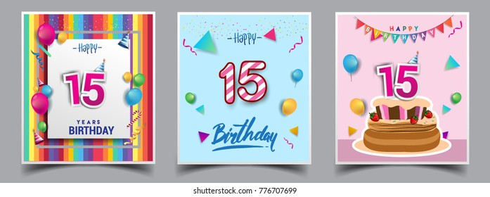 Happy 15th Birthday Images Stock Photos Vectors Shutterstock