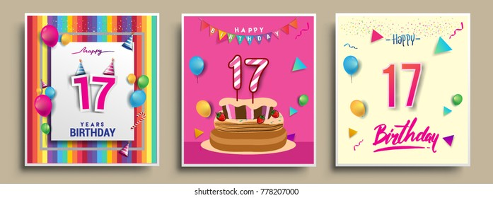 17 birthday images stock photos vectors shutterstock vector sets of 17 years birthday invitation greeting card design with confetti and balloons stopboris Choice Image