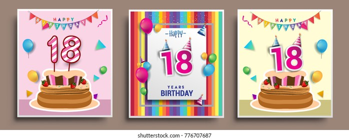 Vector Sets of 18 Years Birthday invitation, greeting card Design, with confetti and balloons, birthday cake, Colorful Vector template Elements for your Birthday Celebration Party.