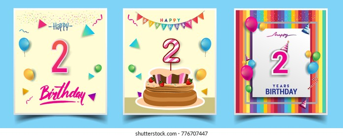 Vector Sets of 2 Years Birthday invitation, greeting card Design, with confetti and balloons, birthday cake, Colorful Vector template Elements for your Birthday Celebration Party.