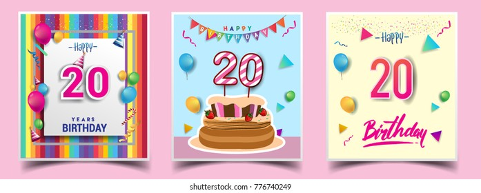 Vector Sets Of 20 Years Birthday Invitation Greeting Card Design With Confetti And Balloons