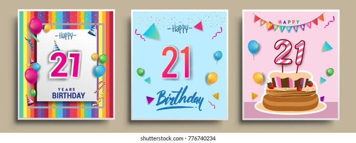 Vector Sets of 21 Years Birthday invitation, greeting card Design, with confetti and balloons, birthday cake, Colorful Vector template Elements for your Birthday Celebration Party.