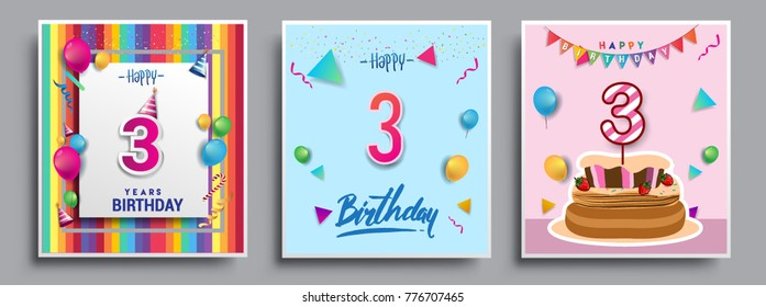 Vector Sets of 3 Years Birthday invitation, greeting card Design, with confetti and balloons, birthday cake, Colorful Vector template Elements for your Birthday Celebration Party.