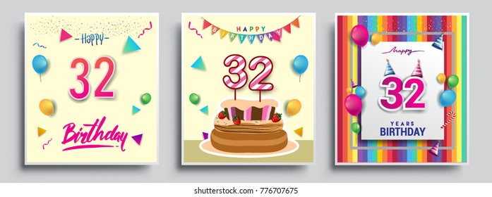 Vector Sets Of 32 Years Birthday Invitation Greeting Card Design With Confetti And Balloons