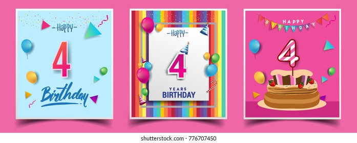 Vector Sets of 4 Years Birthday invitation, greeting card Design, with confetti and balloons, birthday cake, Colorful Vector template Elements for your Birthday Celebration Party.