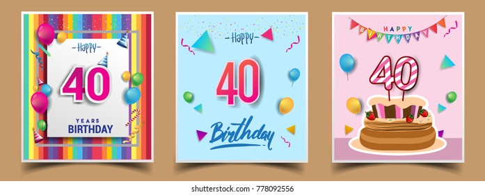 Vector Sets of 40 Years Birthday invitation, greeting card Design, with confetti and balloons, birthday cake, Colorful Vector template Elements for your Birthday Celebration Party.