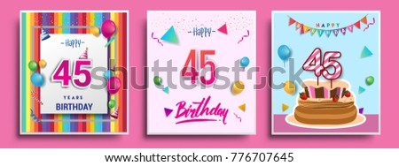 Vector Sets Of 45 Years Birthday Invitation Greeting Card Design With Confetti And Balloons
