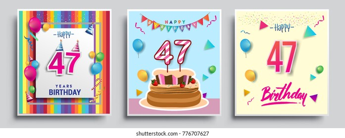 Vector Sets Of 47 Years Birthday Invitation Greeting Card Design With Confetti And Balloons