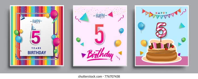 Vector Sets of 5 Years Birthday invitation, greeting card Design, with confetti and balloons, birthday cake, Colorful Vector template Elements for your Birthday Celebration Party.