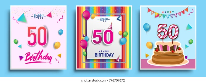 Vector Sets Of 50 Years Birthday Invitation Greeting Card Design With Confetti And Balloons
