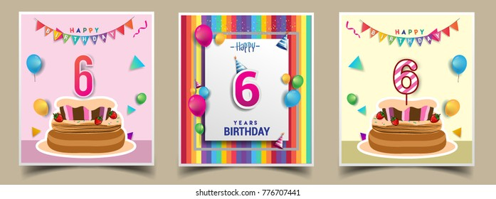 Vector Sets Of 6 Years Birthday Invitation Greeting Card Design With Confetti And Balloons