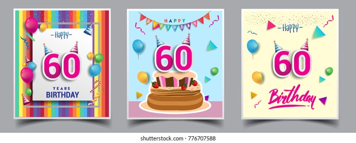 Vector Sets Of 60 Years Birthday Invitation Greeting Card Design With Confetti And Balloons