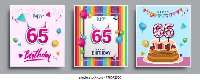Vector Sets of 65 Years Birthday invitation, greeting card Design, with confetti and balloons, birthday cake, Colorful Vector template Elements for your Birthday Celebration Party.