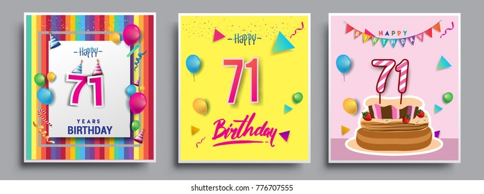Vector Sets of 71 Years Birthday invitation, greeting card Design, with confetti and balloons, birthday cake, Colorful Vector template Elements for your Birthday Celebration Party.