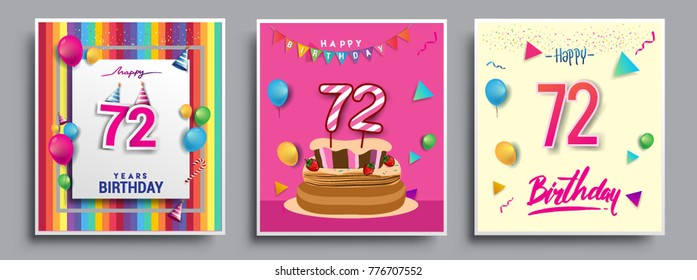 Vector Sets Of 72 Years Birthday Invitation Greeting Card Design With Confetti And Balloons