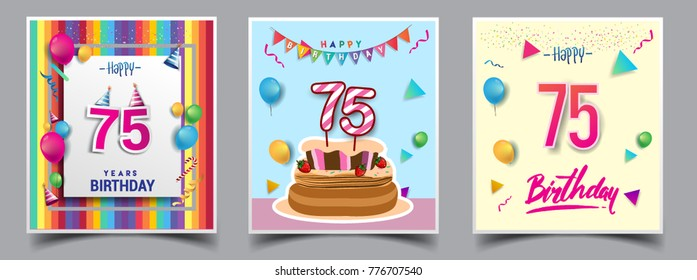 Vector Sets of 75 Years Birthday invitation, greeting card Design, with confetti and balloons, birthday cake, Colorful Vector template Elements for your Birthday Celebration Party.